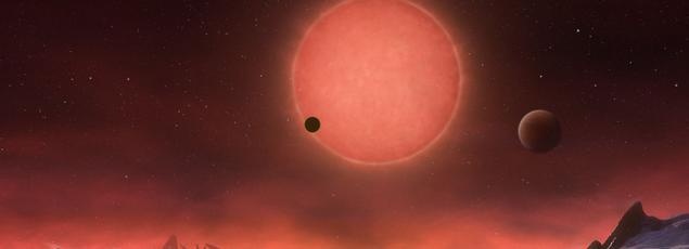 Paysage d'une des trois planètes, imaginé par l'Observatoire européen austral (ESO).