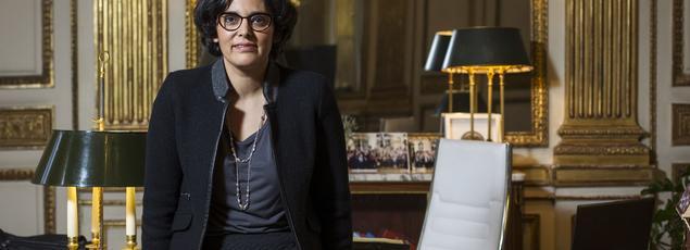 Myriam El Khomri dans son bureau au ministère du Travail, lors d'un entretien avec Le Figaro, le 4 avril à Paris.