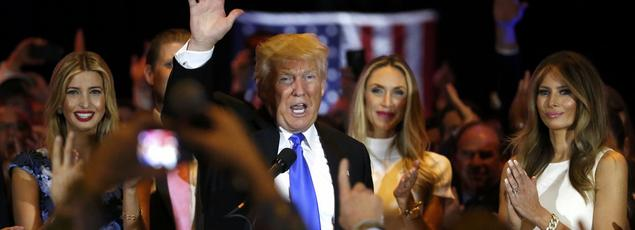 «Je n'ai jamais vécu rien de comparable dans ma vie», a déclaré Donald Trump, mardi soir à la Trump Tower, à New York, entouré de sa fille Ivanka, sa belle-fille Lara et sa femme Melania.