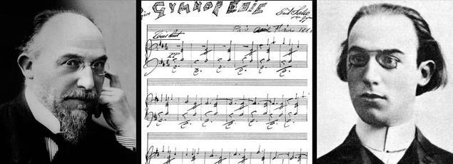 Erik Satie, à l'âge mûr et en 1866, à tout juste 20 ans. Au centre la partition de la 1ère Gymnopédie composée en 1888.