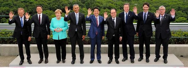 Les dirigeants du G7 posent pour la photo jeudi, à Ise-Shima, au Japon.