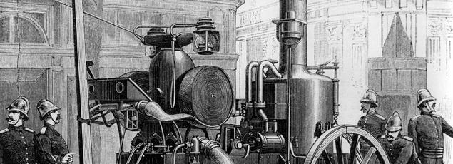 Gravure de Louis Poyet représentant des pompiers de Paris avec une pompe à vapeur à système Thirion , le lendemain du terrible incendie de l'Opéra Comique en mai 1887..