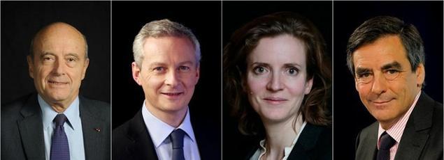 Alain Juppé, Bruno Le Maire, Nathalie Kosciusko-Morizet, et François Fillon.
