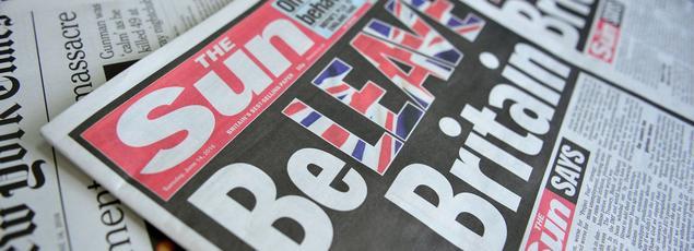 La Une du Sun du 14 juin, consacrée au Brexit.