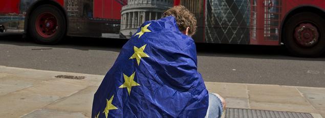 À Londres, une manifestation anti-Brexit spontanée s'est déroulée samedi 25 juin. Devant le palais de Westminster, un partisan du «in», enveloppé dans le drapeau de l'Union européenne, exprime son désarroi.
