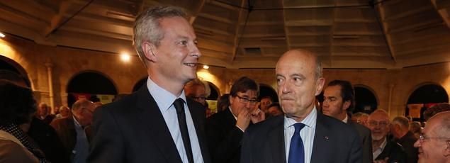 Les candidats à la primaire de la droite, Bruno Le Maire et Alain Juppé.