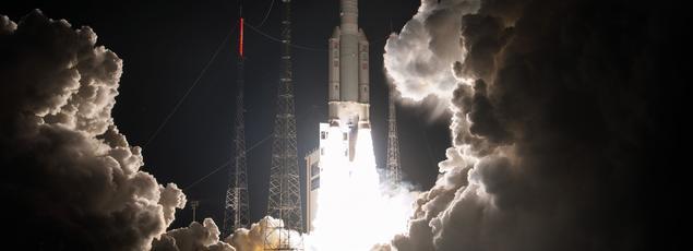 Lancement d'Ariane 5, le 9 mars 2016 à Kourou, avec pour mission la mise en orbite Eutelsat 65 West A, 31e satellite lancé par Arianespace pour Eutelsat Communications.