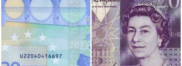 A gauche, le billet de 20 euros sur lequel figurent «des ponts qui ne mènent nulle part», à droite le billet de 20 livres sur lequel figure la reine d'Angleterre, Elizabeth II.