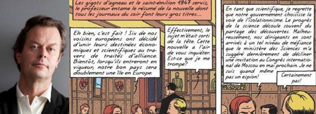 Yves Sente (à gauche) et la fameuse page 10 de «La Machination Voronov» (2000) , une aventure de Blake et Mortimer située 1957.