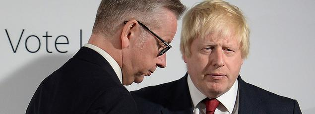 Michael Gove et Boris Johnson, lors d'une conférence de presse au lendemain de la victoire du Leave au référendum sur la sortie de l'UE, le 24 juin.