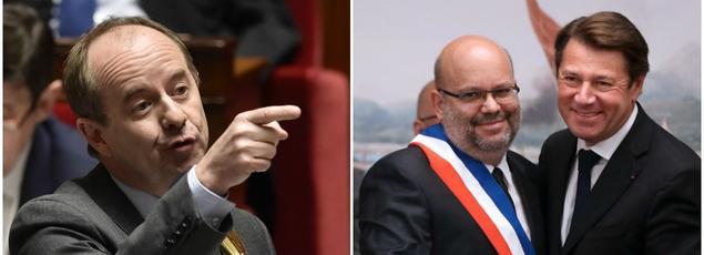 Le ministre de la Justice Jean-Jacques Urvoas, le maire de Nice Philippe Pradal et son adjoint Christian Estrosi