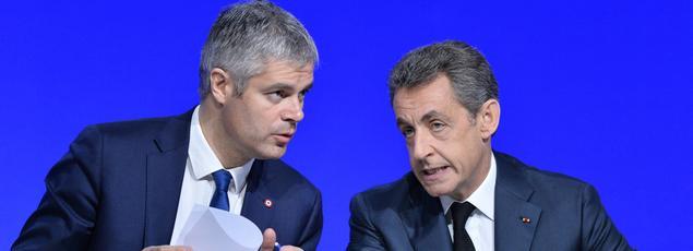 Laurent Wauquiez et Nicolas Sarkozy lors du conseil national du parti