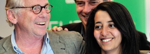 Karima Delli avec Daniel Cohn-Bendit et Pascal Durand lors des élections européennes en 2014