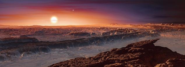 Vue d'artiste de la surface de la planète Proxima Centauri b.