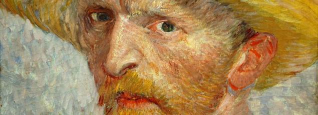 Autoportrait au chapeau, de Vincent Van Gogh, (1887). Détail.