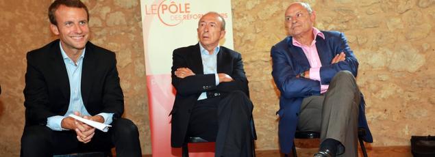 Emmanuel Macron, Gérard Collomb et Jean-Marie Le Guen en août 2015
