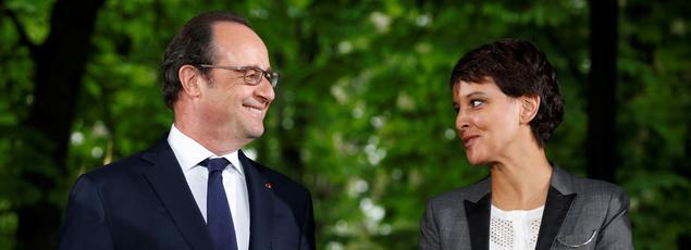 François Hollande et Najat Vallaud-Belkacem au Jardin du Luxemboug le 10 mai 2016