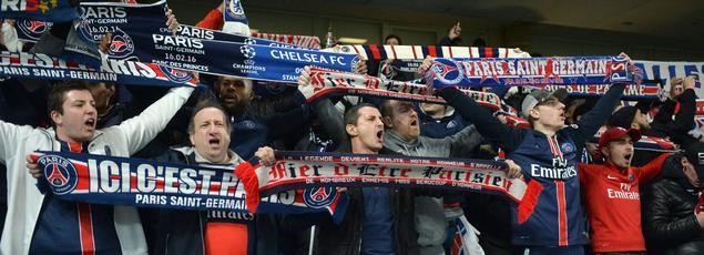 Des supporteurs du Paris SG en mars dernier à Chelsea en Ligue des champions.