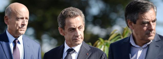 Alain Juppé, Nicolas Sarkozy et François Fillon, candidats à la primaire de droite, le 5 septembre 2015.