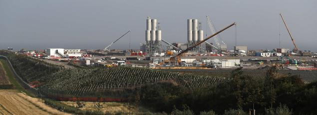 Vue du chantier, mercredi, de la centrale d'Hinkley Point C à proximité de Bridgwater, en Angleterre.