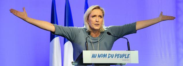 Marine Le Pen lors de ses «Estivales» le 18 septembre 2016 à Fréjus (Var).