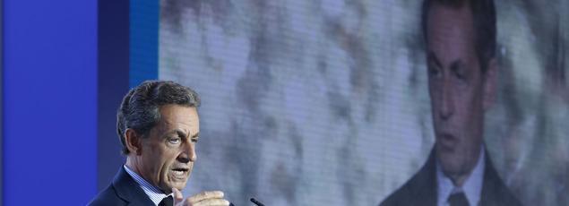Nicolas Sarkozy prononcant son discours à l'Université du Medef en août 2016.
