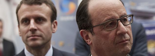 Emmanuel Macron et François Hollande à l'Élysée, le 23 mai 2016.