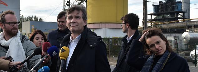 Aurélie Filippetti aux côtés d'Arnaud Montebourg lors de sa visite en Moselle, le 13 octobre.