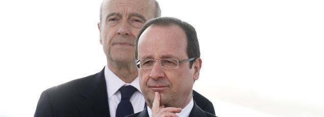 Alain Juppé et François Hollande à Bordeaux, le 16 mars 2013.