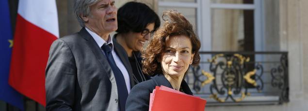 Stéphane Le Foll, Myriam El Khomri et Audrey Azoulay en avril sur le perron de l'Élysée. Cette dernière se verrait bien députée de la capitale en juin 2017.