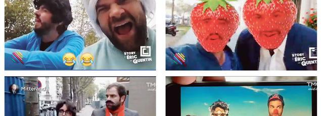 Diffusée dans l'émission «Quotidien» de Yann Barthès sur TMC, la chronique d'Éric et Quentin intègre des emojis, des filtres ou du texte en surimpression des images, rappelant ainsi les codes de l'univers numérique.