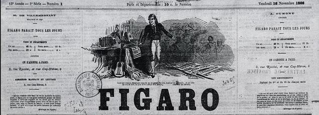 Une du Figaro du 16 novembre 1866: le journal devient un quotidien.