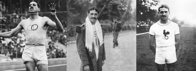 À gauche, Jean Bouin, coureur de fond français, lors de son arrivée en finale du 5.000 m aux Jeux Olympiques de Stockholm, le 10 juin 1912, où il termine deuxième. Au centre le sportif en 1912 et à droite une photo non datée.