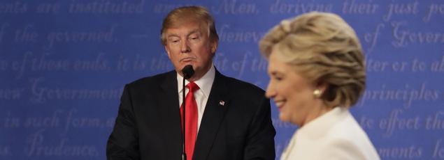 Les deux candidats lors d'un débat télévisé organisé à Las Vegas avant l'élection présidentielle, le 19 octobre.