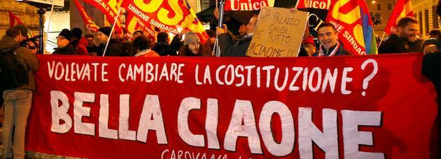 Des partisans du «non» au référendum à Rome.