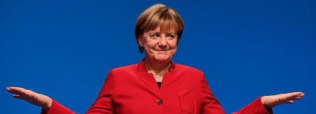 Angela Merkel lors de son élection à la tête du parti conservateur, ce mardi.