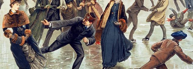 Le patinage est un loisir très prisé de la haute société au XIXe siècle (gravure américaine par L. Prang & Co. d'après Henry Sandham, vers 1886).
