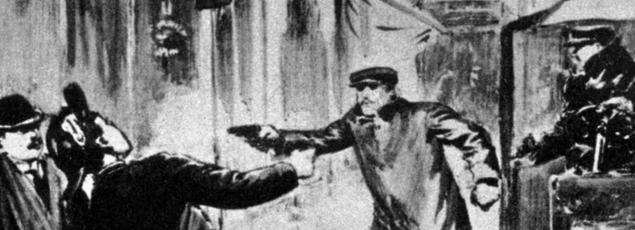 La bande à Bonnot braque un garçon de recette rue Ordener à Paris le 21 décembre 1911, dessin paru dans «Excelsior».