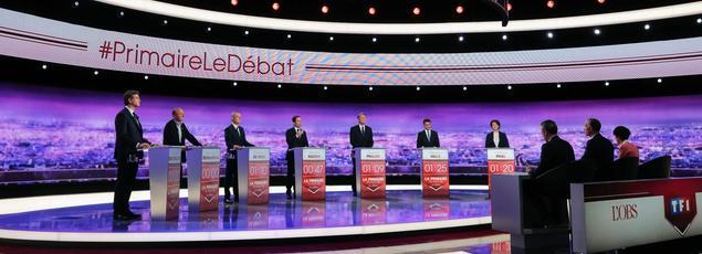 Les septs candidat à la Plaine Saint-Denis, le 12 janvier 2016.