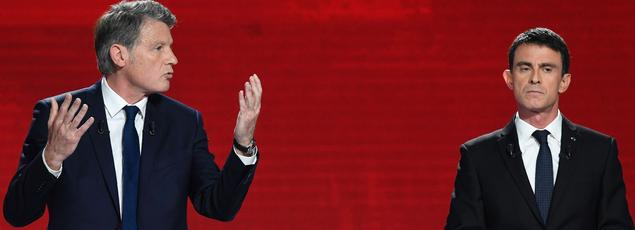 Vincent Peillon et Manuel Valls, dimanche, lors du second débat de la primaire socialiste