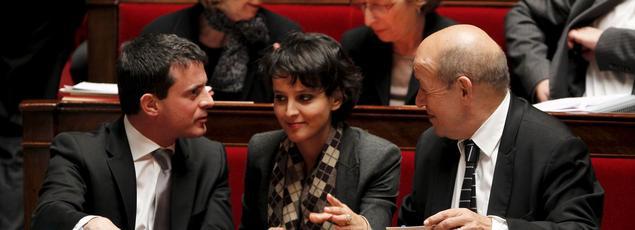 Manel Valls, Najat Vallaud-Belkacem et Jean-Yves Le Drian à l'Assemblée, le 30 octobre 2012.