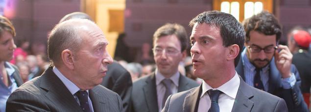 Gérard Collomb et Manuel Valls à Lyon, le 11 mai 2013.