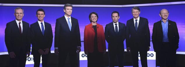 Les sept candidats à la primaire de la gauche, les 22 et 29 janvier 2017.