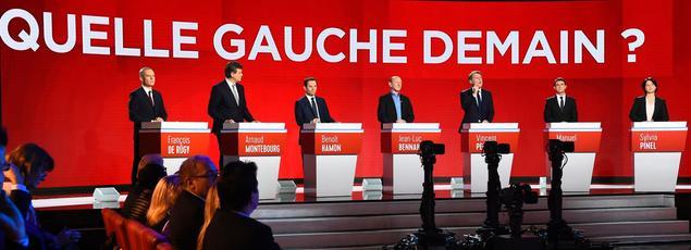 Les sept candidats à la primaire réunis à Paris, le 15 janvier 2017.