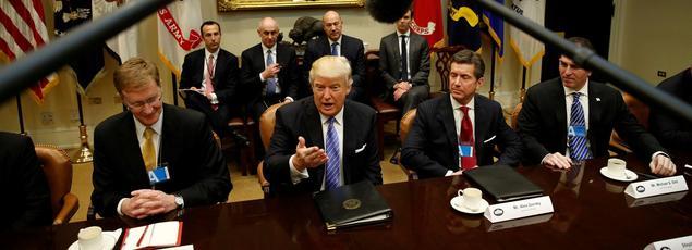 Donald Trump lors d'une réunion avec des dirigeants d'entreprise, à la Maison Blanche lundi.