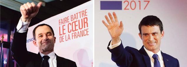 Benoît Hamon et Manuel Valls fêtent leur qualification pour le second tour de la primaire dans leur QG respectif, dimanche soir à Paris.