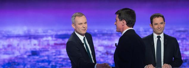 François de Rugy, Manuel Valls et Benoît Hamon à Paris, le 12 janvier 2017.