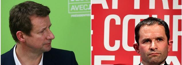 Yannick Jadot, candidat écologiste à la présidentielle, et Benoît Hamon, candidat du PS