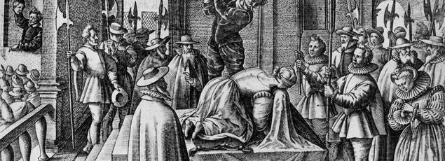 Gravure figurant l'exécution de Marie Stuart (1542-1587) reine d'Écosse, décapitée le 8 février 1587 au château de Fotheringhay, en Angleterre.