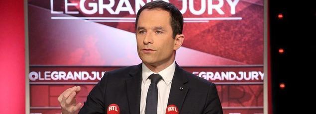 Benoît Hamon sur le plateau du «Grand Jury», le 19 février 2017.